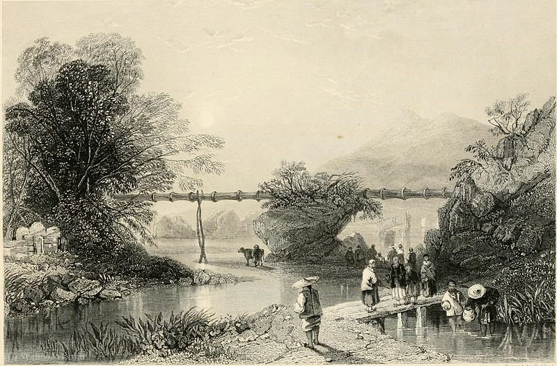 Bambú Acueducto en Hong Kong de Thomas Allom (1804-1872, United Kingdom)