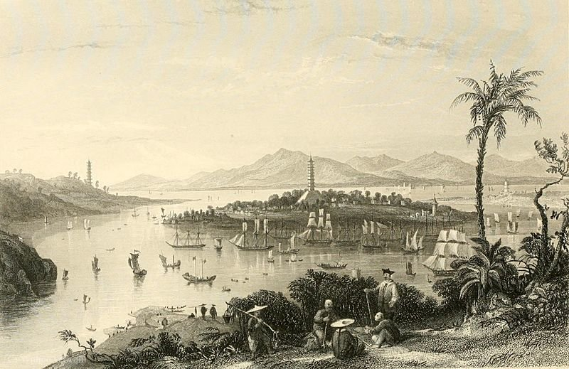 Whampoa desde la isla de Dane de Thomas Allom (1804-1872, United Kingdom)