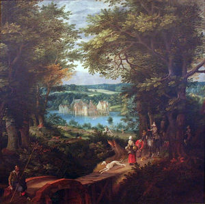 Denis Van Alsloot - Landschap reunió Waterburcht e..