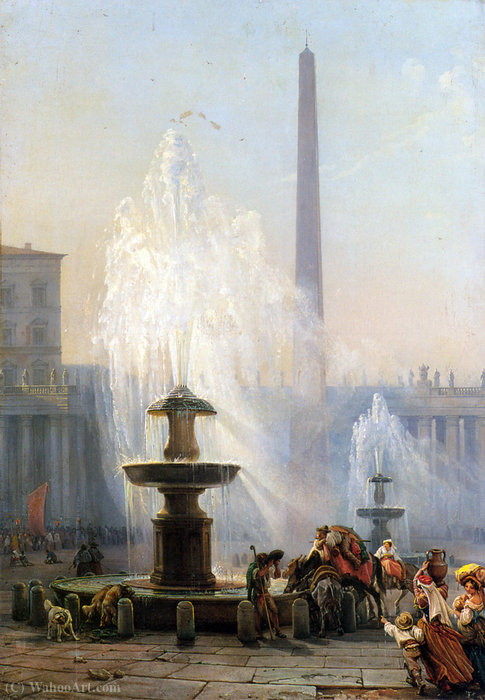 Piazza San Pietro, Roma de Friedrich Nerly (1808-1878, Germany)