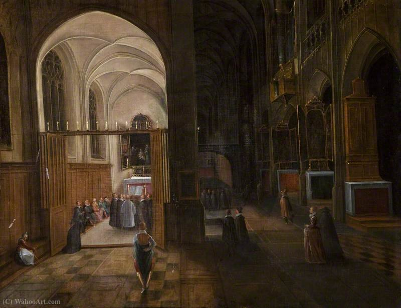 iglesia interior de Hendrick Van The Younger Steenwyck (1580-1649, Belgium)