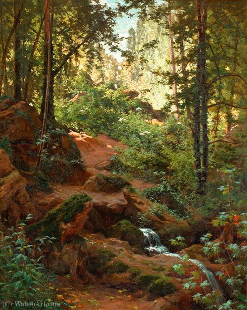 Woodland interior con arroyo de Henri Biva (1848-1929, France)