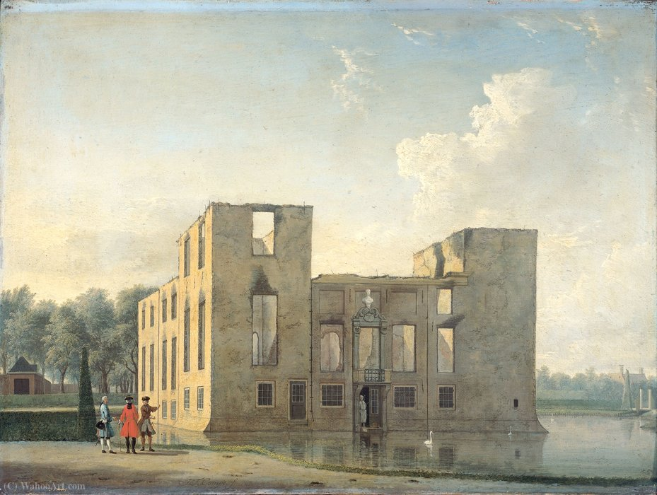Castillo Berckenrode en Heemstede tras el incendio de may 4 a 5 (1747) de Jan Ten Compe (1713-1761, Netherlands)