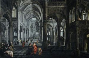 Peeter The Elder Neeffs - Interior de una Catedral enest..