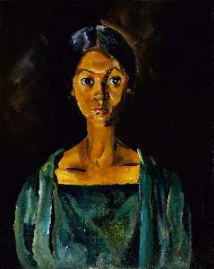 William Henry Johnson - chica en un verde vestido ( retrato estudio Sinduda . 22 )