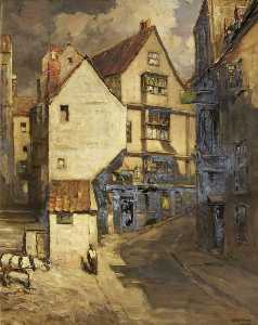 Francis Abel William Tayl.. - casas en escarpado  calle..