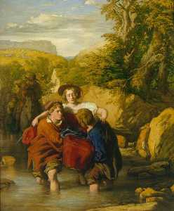 William Mulready The Younger - el ford ( -Crossing el Ford- )