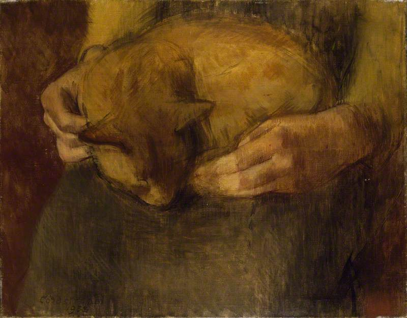 durmiendo gato, 1938 de William Menzies Coldstream (1908-1987, United Kingdom) | Copia De La Pintura | ArtsDot.com